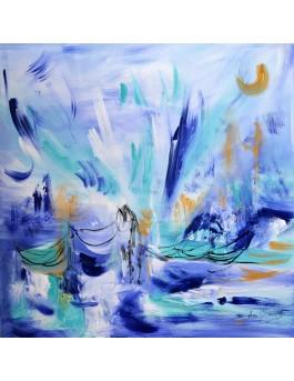 Lieu de glace - tableau abstrait bleu sur plaque de bois