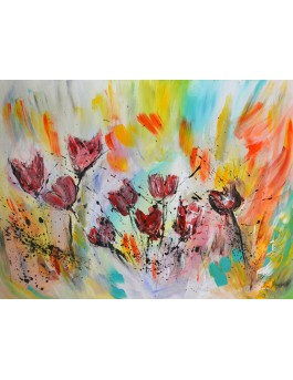 Tableau abstrait de fleurs tulipes