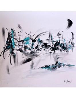 Oxygène - tableau abstrait noir et blanc touche de bleu sur plaque de bois