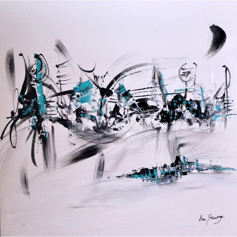 tableau abstrait noir et blanc touche de bleu