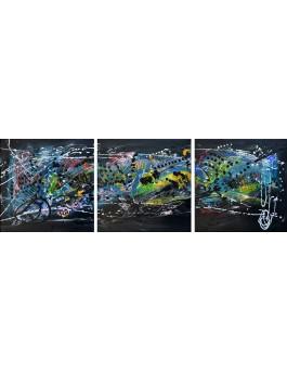 tableau triptyque design noir touches de couleurs