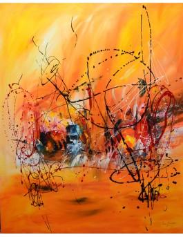 En plein soleil - grand tableau abstrait rouge et orange