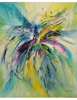 Fleur vivante - tableau abstrait vertical fleur