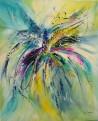 tableau abstrait vertical fleur
