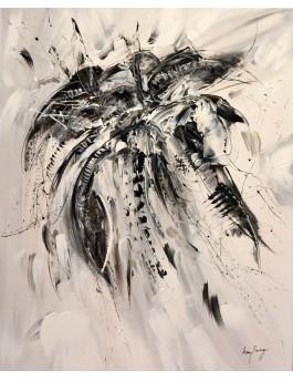 Fleur céleste - tableau abstrait noir et blanc