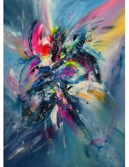 L'oiseau rare - tableau multicolore moderne