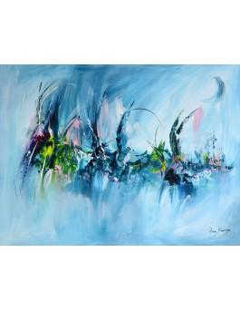 tableau abstrait bleu à l'acrylique