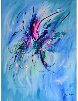 tableau abstrait bleu vertical papillon
