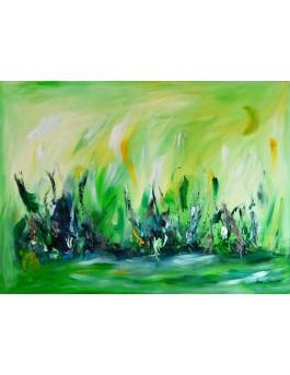 Les joies de la nature - tableau abstrait contemporain vert sur plaque de bois