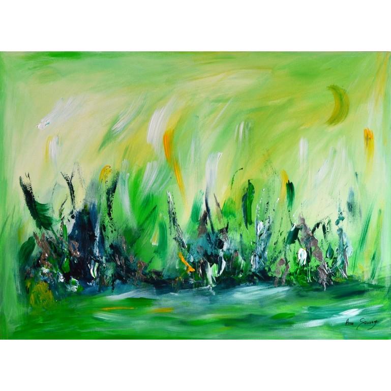 tableau abstrait contemporain vert sur plaque de bois
