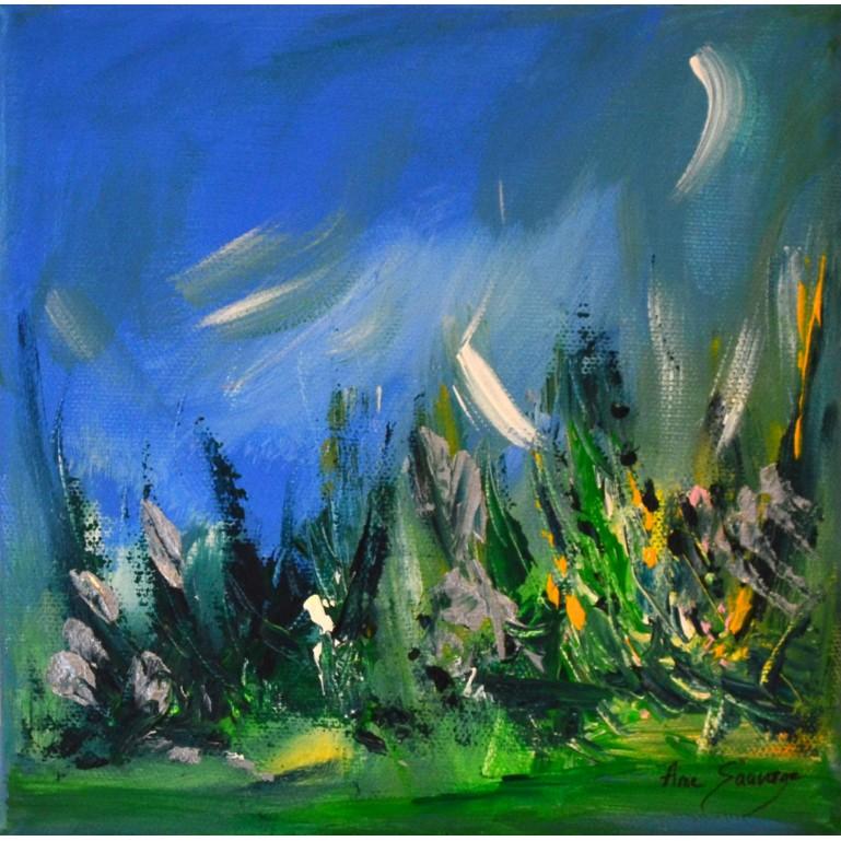 tableau abstrait bleu vert nature