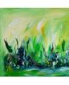 tableau abstrait contemporain vert