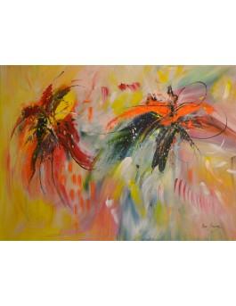 La vie des fleurs - peinture multicolore de fleurs sur plaque de bois