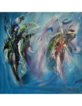 La danse de l'univers - tableau bleu sur plaque de bois