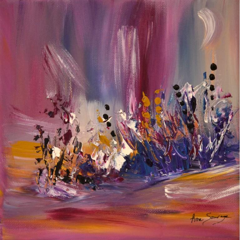 tableau abstrait rose violet ocre