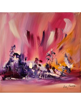 Près du sommet - tableau abstrait rose violet ocre