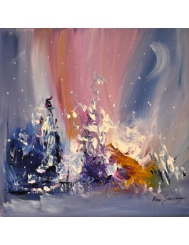 Un hiver en couleur - tableau abstrait unique