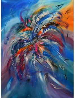 Fleurs éblouissantes - tableau abstrait contemporain bleu