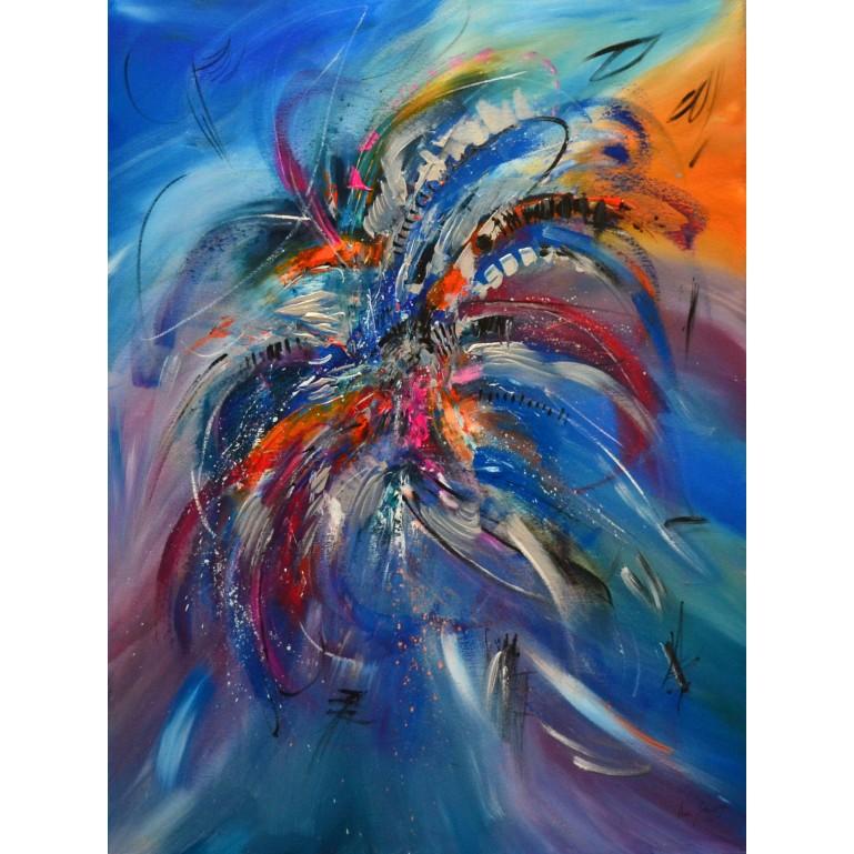 Fleurs éblouissantes - tableau multicolore vertical