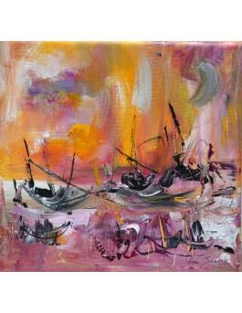 Un repos inespéré, peinture abstraite au couteau
