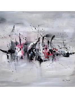 Dans la brume - Tableau abstrait gris noir blanc rouge sur plaque de bois