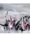 Tableau abstrait gris noir blanc roug