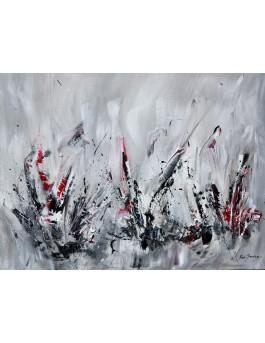 Origines - tableau abstrait gris noir blanc rouge moderne sur plaque de bois