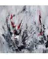 tableau abstrait gris noir blanc rouge moderne