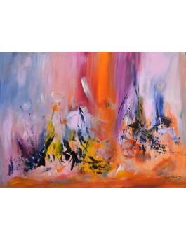 Un avenir radieux - peinture abstraite colorée sur plaque de bois