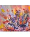 tableau abstrait coloré sur plaque de bois