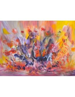 Paysage bucolique - tableau abstrait coloré sur plaque de bois