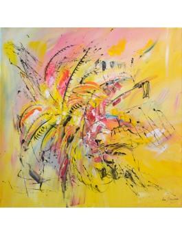 Fleurs romantiques - tableau abstrait moderne jaune