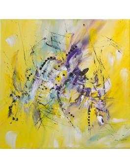 La vie en lumière - tableau contemporain jaune