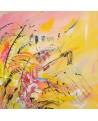 tableau abstrait moderne jaune