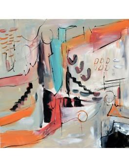 tableau abstrait moderne chaleureux
