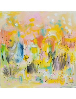 Fleurs solaires - tableau abstrait multicolore sur plaque de bois