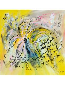 Belle amaryllis -  peinture florale sur plaque de bois