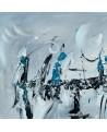 tableau abstrait gris noir blanc bleu