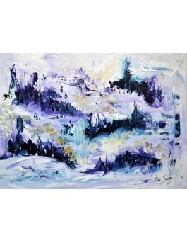 peinture abstraite paysage enneigé