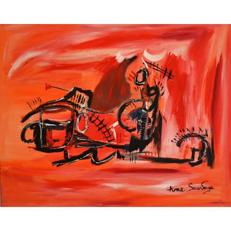 grand tableau abstrait orange