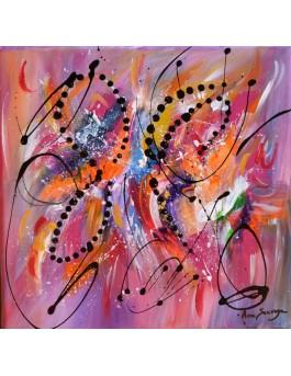 Les couleurs de l'infini - tableau abstrait violet orange