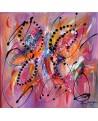 tableau abstrait violet orange
