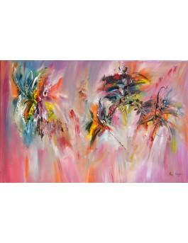 En apesanteur : peinture fleurs abstraite