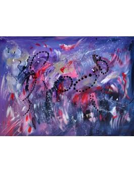 Sans gravité - tableau abstrait violet sur plaque de bois