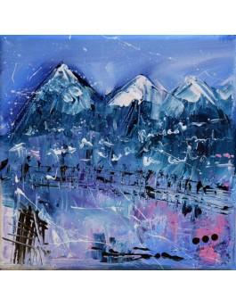 tableau abstrait bleu neige montagnes