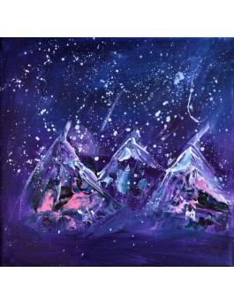 tableau abstrait violet neige
