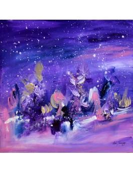 tableau abstrait violet rose neige