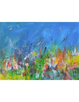 Les fleurs de nuit - Peinture abstraite de fleurs sur plaque de bois