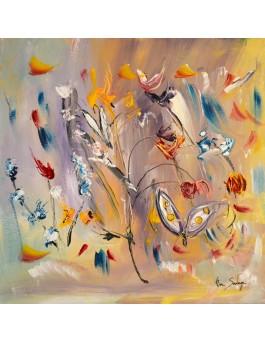 Butinage de printemps, peinture abstraite fleurs