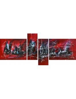 Belles lumières - tableau quadriptyque design noir et rouge